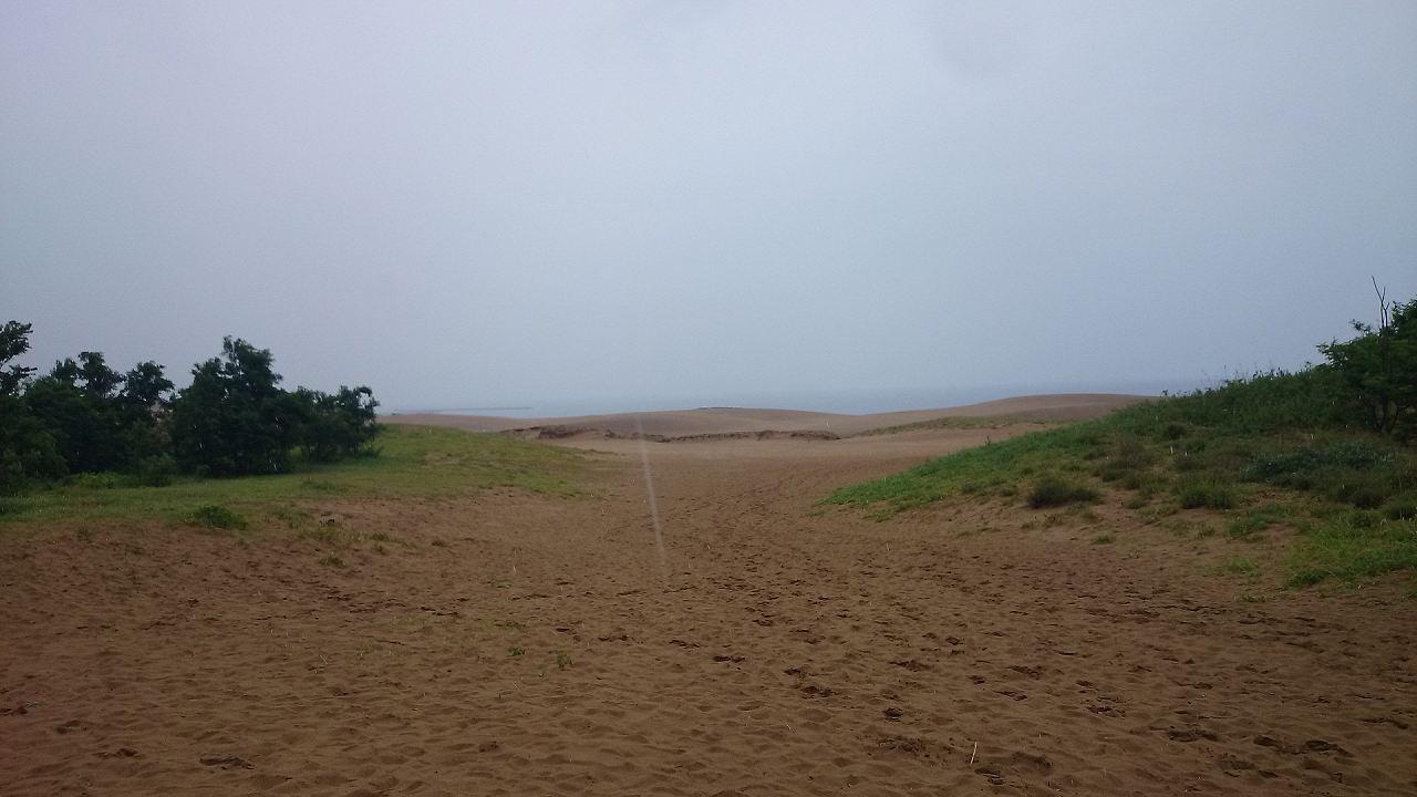 悪天候の鳥取砂丘